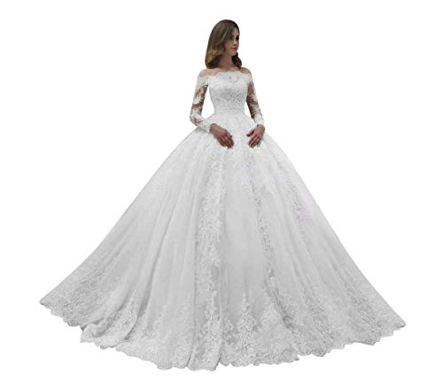 MAXINDA Gorgeous Off The Shoulder Ball Gown Wedding Dresses Lace Tulle with Train Long Sleeves for Women Bride White