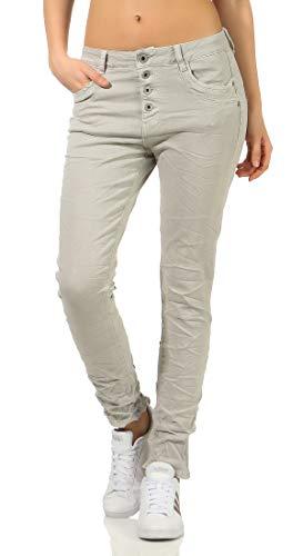 Karostar trendy Damenjeans im Boyfriends Style/Chino in aktuellen Farben/Hüfthose Stretch 61 (44, Hellgrau)
