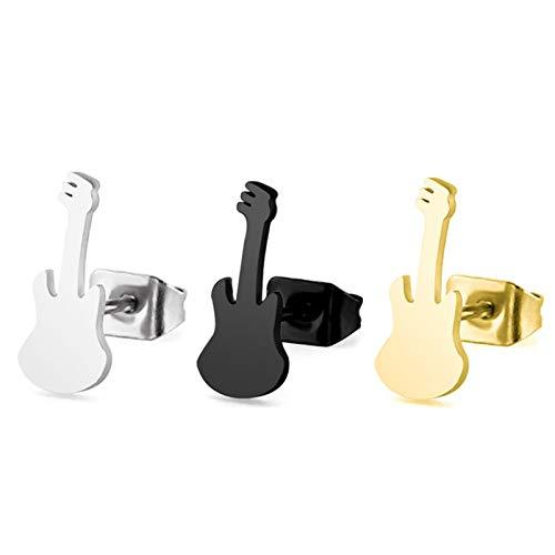 Beydodo Pendientes 3pares Guitarra Pendiente Mujer Hombre Acero Inoxidable Negro Oro Plata