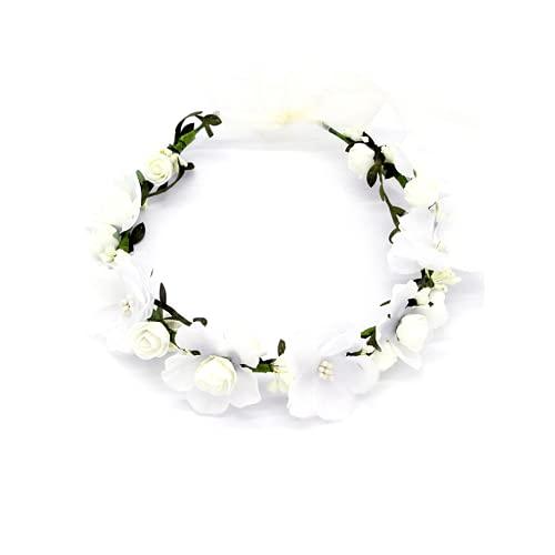 LATRAT - Corona di fiori, decorazione per capelli, decorazione per feste, festival, matrimoni, accessori di colore bianco