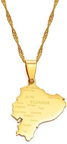 WYDSFWL Collar con Colgante de Tarjeta de Ecuador, Collares para Mujeres, Color Dorado, joyería con mapas, joyería patriótica ecuatoriana, Mejores Regalos, Collar