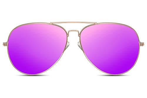 Cheapass Sonnenbrille Gold Violett Verspiegelt UV-400 Piloten Flieger-Brille Metall-Rahmen Damen Frauen