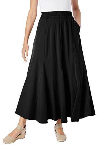Woman Within Women's Plus Size Knit Panel Skirt Soft Knit Skirt - 5X, Black