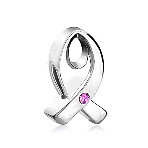 Pandora 925 Colgante De Plata Esterlina Joyería De Moda Mujeres Gran Agujero Espaciador Perlas Conciencia Del Cáncer De Mama Cinta De Cristal Rosa Charm Fit Pulsera