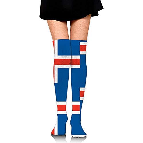 Voorraad Originaliteit IJsland Vlag Casual Vrouwen Lange Sokken Boot Voorraad Compressie Sokken Cosplay Knie Hoge Sokken Party Hardlopen Mode Jurk Comfortabele Kleurrijke Zacht