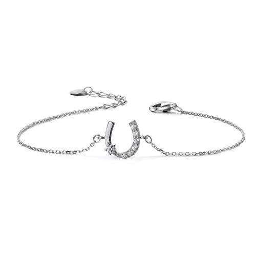 Chereda Pulsera de herradura de plata de ley 925 para mujer, diseño de caballo de la suerte, regalo para mujer