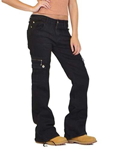 ORANDESIGNE Jeanshose Damen Cargohose Militär Jeans Hosen Weite Beinhosen Freizeithose Sporthose Schlaghose Outdoorhose Arbeitshose A Schwarz S