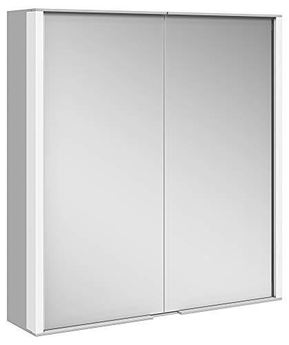 Keuco Spiegel-Schrank mit Variabler LED-Beleuchtung dimmbar, Badezimmer-Spiegelschrank, mit Aluminium-Korpus, mit 2 Türen, 65x70x16 cm Royal Match