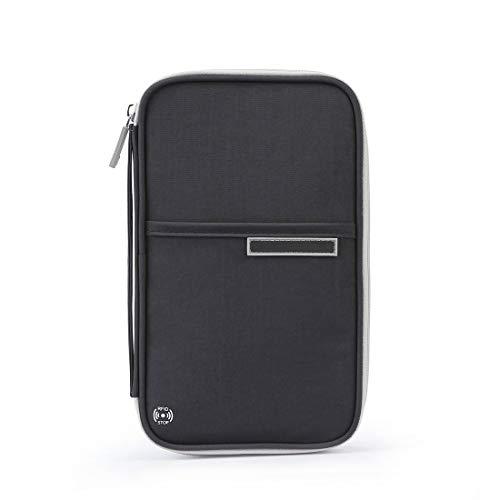 Yvonnelee Reisebrieftasche mit RFID Schutz Reiseorganizer Mappe Reisepass Reise-Dokumente Tasche Kreditkarten-Halter Ausweistasche Unisex-Clutch mit Reißverschluss-Fächern