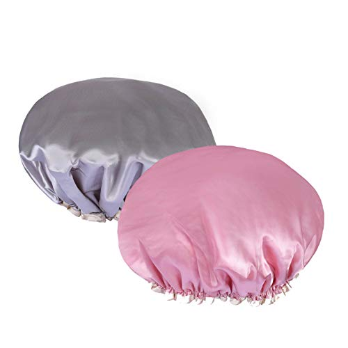 Gorro de Baño, Cubierta reutilizable del pelo del balneario del satén del sombrero del baño para el cuarto de baño, balneario, uso en el hogar