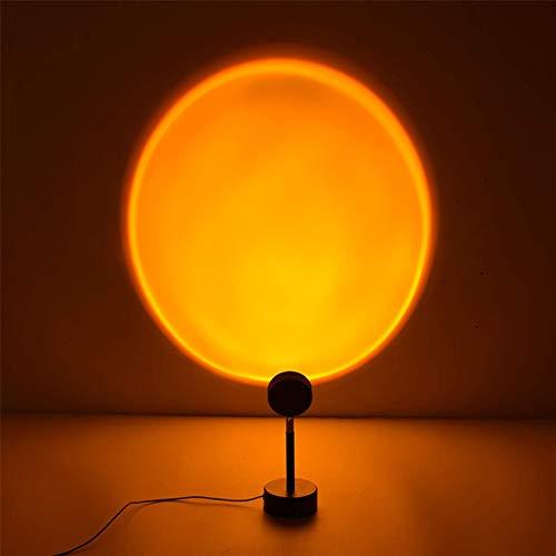Sunset Projection Lámpara LED de proyección de 90 grados de rotación arco iris, lámpara de proyección romántica de pie de luz nocturna para boda, fiesta, dormitorio, decoración (puesta de sol)