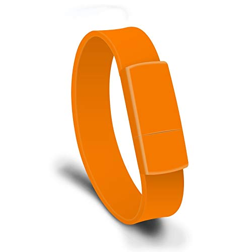 Anbel Cmf 8GB USB 2.0 di Modo del Braccialetto Wristband U Disk (Nero) (Color : Orange)