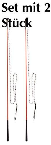 AMKA Kontaktstock mit Seil für die Bodenarbeit 120 cm Set mit 2 Stück Reitstick Finesse-Stick Carrot Stick Horsemanstick für Parelli Arbeit