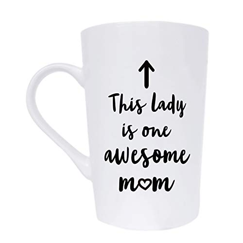 MAUAG This Lady is One Awesome Mom Coffee Mug Christmas Gifts, Funny Quote Cup for Mother's Day or Valentine's Day from Daughter Son or Husband, White 12 Oz