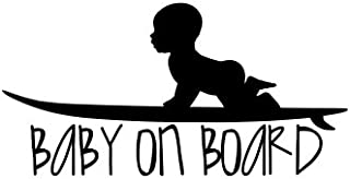 Baby on board with baby on surf board Vinyl Decal Sticker (Black)