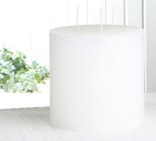 Rustik-Dreidochtkerze, 15 x 15 cm Ø, weiß