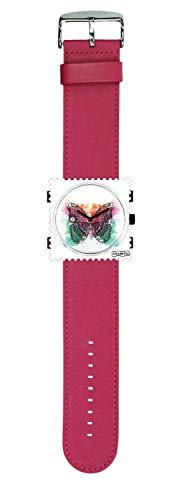 S.T.A.M.P.S. Stamps Uhr komplett - Zifferblatt Diamond Butterfly mit Lederarmband hot pink