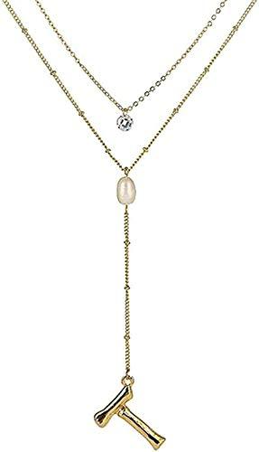WYDSFWL Collar de Moda con Letras, Collar de Cadena Larga y Colgante, Collar de Doble Capa de Cristal Redondo de Perlas para Mujer, Regalo de cumpleaños, joyería, Regalos