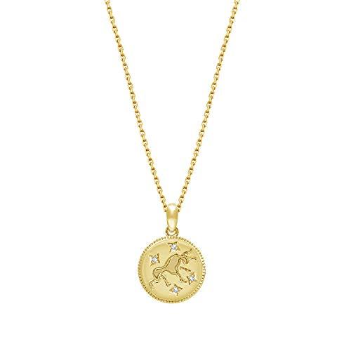 "J'ADMIRE 14K Yellow Gold Plated Sterling Silver Swarovski Zirconia Zodiac Stars (Taurus) Pendant Necklace, 18"""