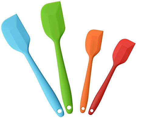 AICMEI Silicone Spatulas, 10 inch and 8.5 inch Rubber Spatula Heat Resistant Non-Stick Flexible Scrapers Baking Mixing Tool(4 Piece)