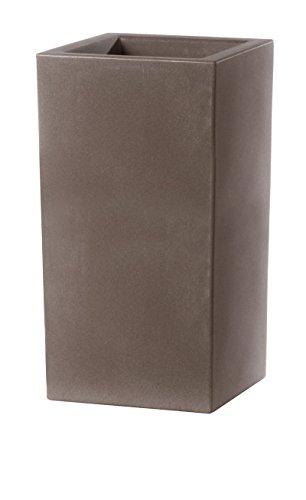 Teraplast Vaso Fioriera in Resina SCHIO CUBO Alto 40x40 H80 Cappuccino