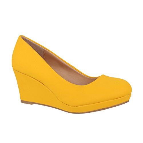 Elara Damen Pumps Keilabsatz Schuhe mit Plateau Chunkyrayan B8011 Senfgelb-40