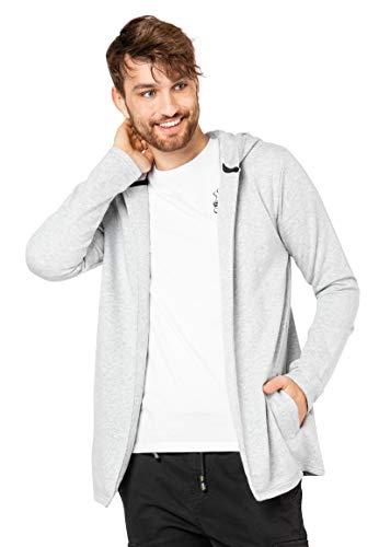 Eight2Nine Herren Cardigan Sweat-Jacke mit Kapuze Light-Grey S