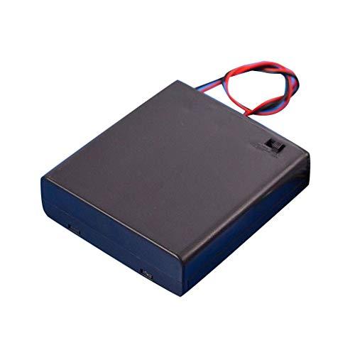 Fornateu Schwarz 4 AA-Batterien Box 6V Deckel Schalter Batteriehalter Fall Halterung Batterieregalfach