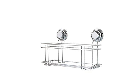 COMPACTOR Mehrzweckablage fürs Bad, Fixierung dank Saugnapf, Für bis zu 12 kg Last, Verchromter Nichtrostender Stahl, 30 x 15 x 20,5 cm, RAN7819