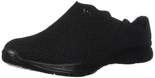 Skechers Damen Scalloped Engineered Knit Open Back Seager-Westlake-Ausgekehlt Strickmaterial, hinten offen, schwarz/schwarz, 35.5 EU