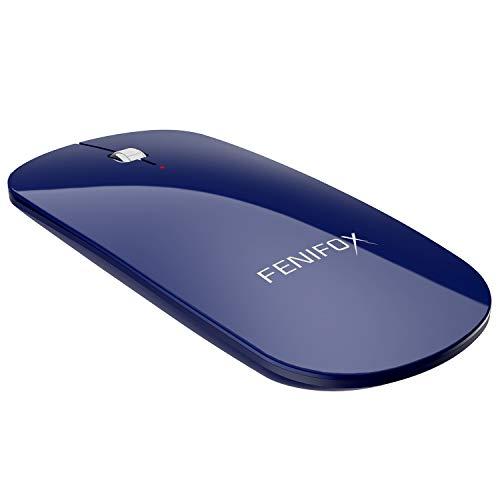 FENIFOX Bluetooth Maus, Kabellose Mouse Wireless Schnurlos 3D Optische Dünn Flach Slim Mini Klein Tragbare Leise Wiederaufladbar Auf Reisen Für Laptop Computer Pc Notebook Kinder (Navy Blau)