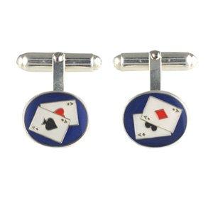 Boutons de manchettes 14x12mm Poker Argent Fin - 925/1000 - pivotant