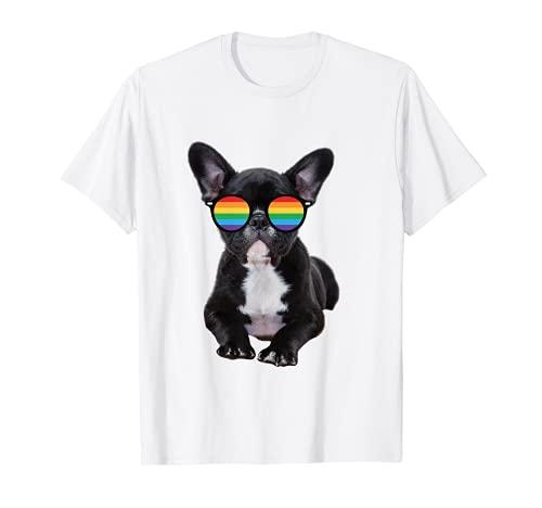 French Bulldog in LGBTQIA+ Pride Rainbow Flag Sunglasses T-Shirt