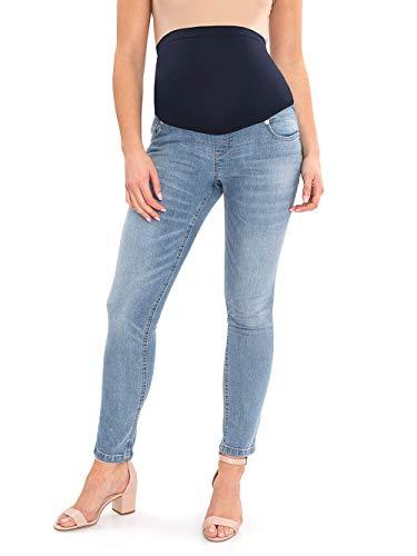 Calça jeans skinny com painel completo Great Expectations Maternidade, Light Blue Wash, Small