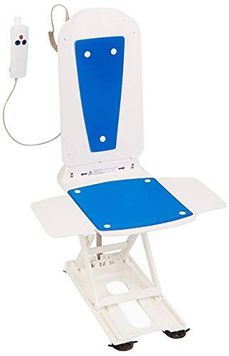 Bathmaster Deltis Bath Lift, Motorized Bath and Shower Seat with Comfortable Blue Cover, Backrest, Transfer Flaps, Waterproof Hand Controller, and Rechargeable Batteries, 309 lbs Weight Capacity