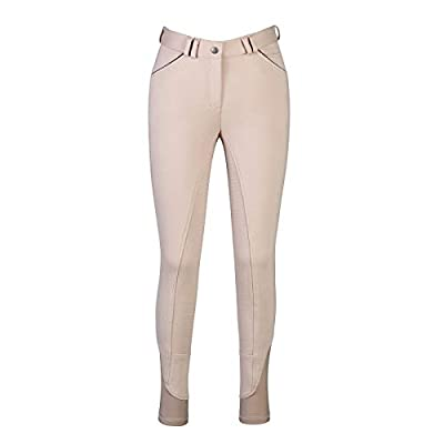HR Farm Ladies Middle Rise Full Seat Silicone Knit Breeches Women Riding Pants (Beige, 28) by HR Farm
