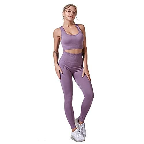 Conjunto de pantalones de yoga sin costuras, leggings deportivos y parte superior para mujer, ropa deportiva, gimnasio, leggings (color: OuZi se, tamaño: M)
