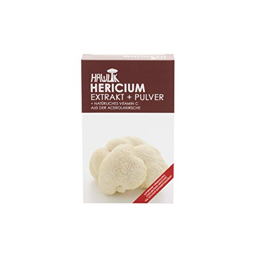 Hawlik Vitalpilze - Hericium Extrakt + Pulver - 60 Kapseln - 250mg Extrakt - 150mg Pulver - 8,5mg natürliches Vitamin C