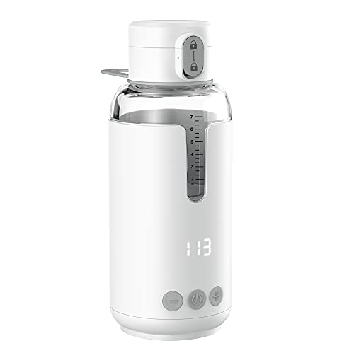 Portable Water Warmer for Brew Baby Formula with Precise and Constant Temperature Control,8 Ounce,4400 mAh Battery Powered,Instant Brewing Milk,Smart Wireless Baby Thermos for Travel,Car,on The Go