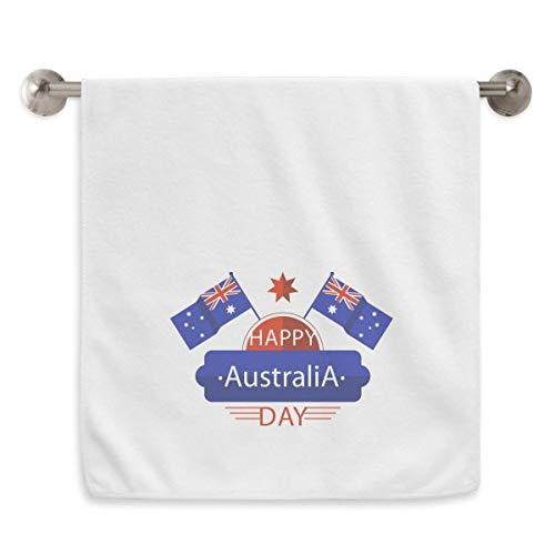 DIYthinker Australia Flavor Happy Bandera y Star Circlet Blanco Toallas Suave Toalla Lavabo 13 x 29 Pulgadas