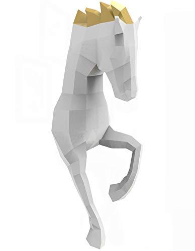 Oh Glam Home Kit DIY Caballo de Pared Papercraft Kit Trofeo de Pared cartón 3D Escultura Origami 3D Puzzle 3D PRECORTADO (Blanco, Crin Dorado)