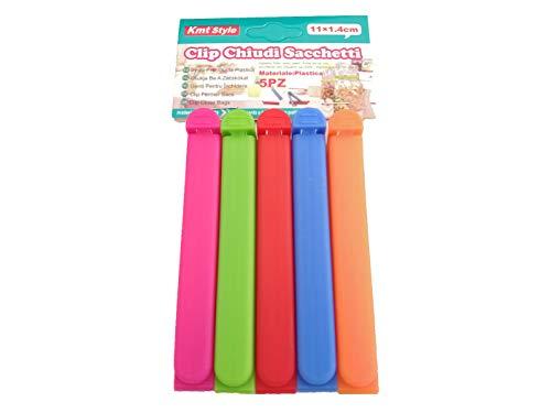 Pinzas Bolsas Alimentos Cocina Comida Cerrar Clips Cierre Sellar Pack Kit Set Colores (MEDIANO (11Cm))