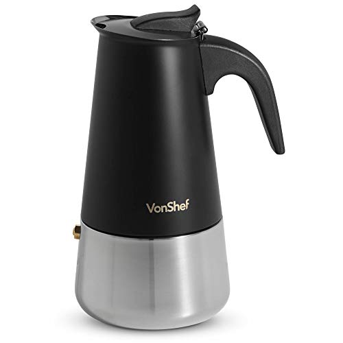 VonShef 6 Cup Espresso Maker – Matte Black Stainless Steel Stove Top Coffee Percolator – Christmas, Birthday or Housewarming Present