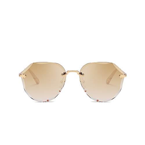kimorn Sonnenbrillen für Frauen Schatten im Freien Groß randlose Diamant-Schneidlinse Classic K0637 (Braun)
