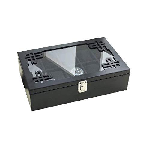 YUTRD ZCJUX Caja joyero de Madera-Reloj, Tapa Caja de Reloj de Cristal, sostenedor del Reloj del Reloj extraíble Almohada, exhibición del Reloj de la guarnición de Terciopelo, Cierre Broche