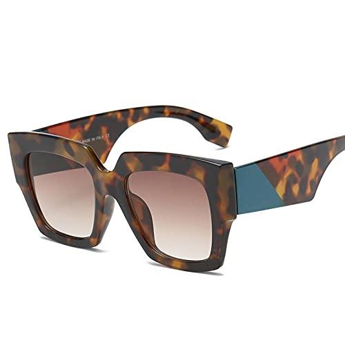 HAOMAO Gafas de sol cuadradas de gran tamaño con degradado para mujer, montura grande, gafas de sol Uv400, leopardo