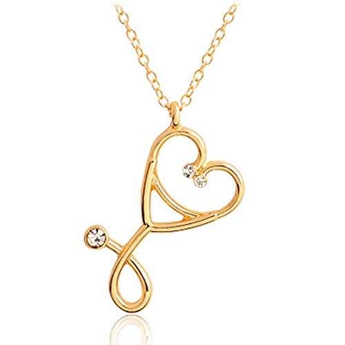 collar Y Collar De Estetoscopio Corazón Colgante De Estetoscopio Con Collar De Diamantes De Imitación Doctor Enfermera Regalo De Graduación