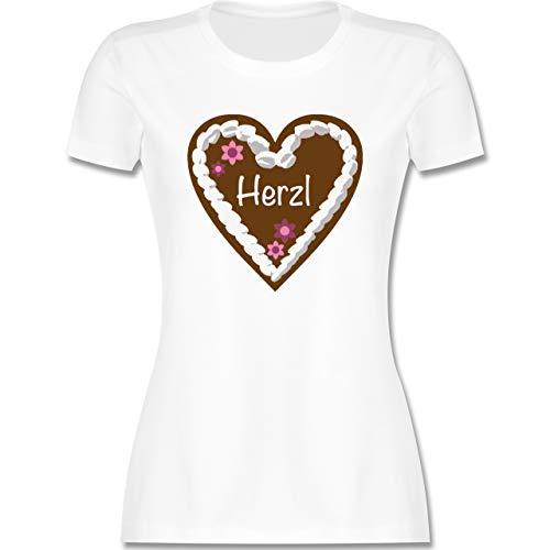 Oktoberfest & Wiesn Damen - Lebkuchenherz Herzl - L - Weiß - Trachten Damen Shirt - L191 - Tailliertes Tshirt für Damen und Frauen T-Shirt