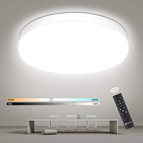 Oraymin LED Deckenleuchte Dimmbar, 18W 1800LM LED Deckenlampe Dimmbar mit Fernbedienung, 3000-6500K Farbwechsel einstellbar, IP54 Badlampe für Bad Wohnzimmer Kinderzimmer Schlafzimmer Büro, Ø22.5cm
