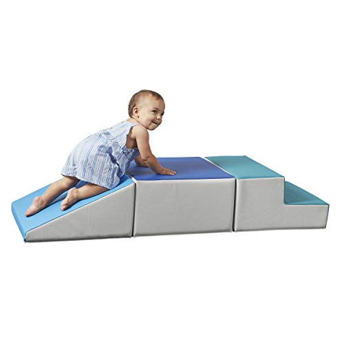 FDP SoftScape Playtime Step and Slide Climber for Infants and Toddlers, Colorful Beginner Soft Foam Structure for Indoor Active Play, Crawling, Climbing, Sliding